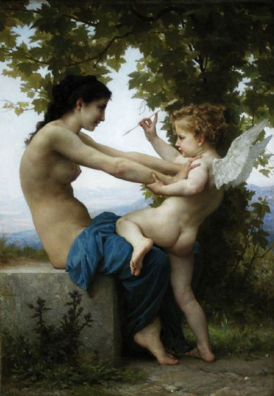 Bouguereau, William Adolphe: Young Girl Defending Herself Against Eros. Fine Art Print/Poster. Sizes: A4/A3/A2/A1 (001784)